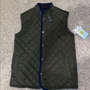 Boys class club vest green navy button zip 10/ 12